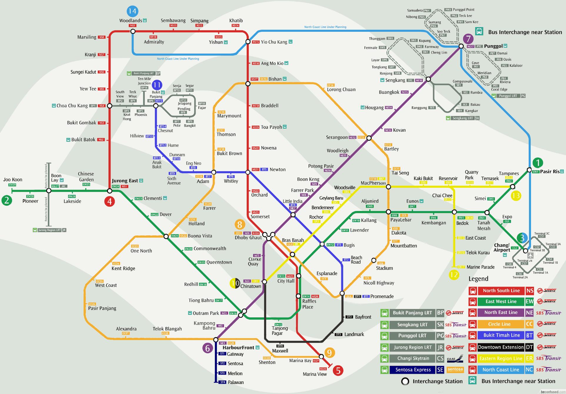 Mappa MRT Singapore