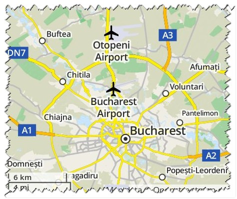 map-airport-Otopeni-Bucharest-stamp